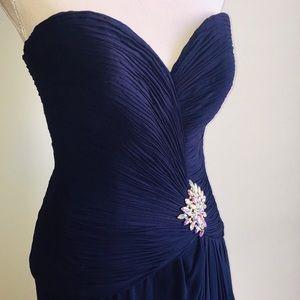 Stephen Yearick Hi-Lo Silk Strapless Evening Gown